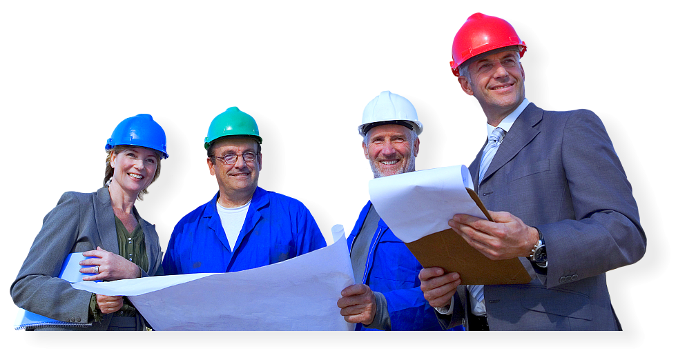 group of business partners holding the floor plan while smiling