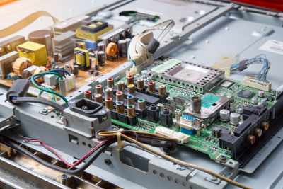 main board and electronic component of led television repairing